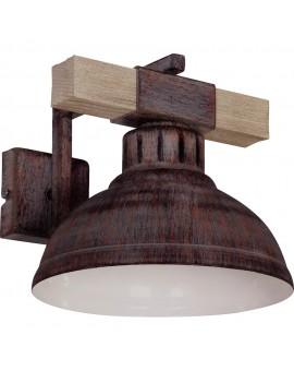 Wandleuchte Vintage Holz Stahl Industrielampe in Kupfer Hakon 9055
