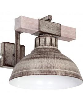 Wandleuchte Vintage Holz Stahl Industrielampe Shabby Hakon 9059