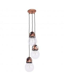 Retro Vintage style Chandelier Hanging Lamp brushed old copper Fresco 7753