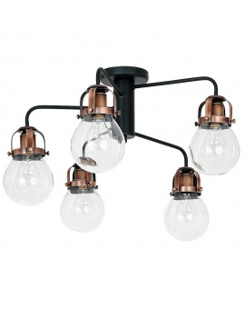 Lampa Plafon Retro Vintage Chandelier Ceiling Lamp black and brushed old copper Paris 7822