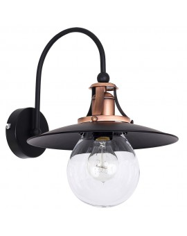 Retro Vintage style Wall Lamp black and brushed old copper Cancun 7711