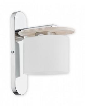 Wandlampe Wandleuchte Modern Glas Metal Sperrholz Chrom Weiß Loren O2450