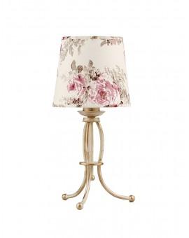 Tischlampe Nachtlampe SARA SA L ecru golden blumig Schirm 1286