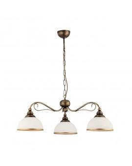 Deckenlampe Kronleuchter Klassisch XSARA XS 3 kol 1175 Metall Glas dunkelgold weiß