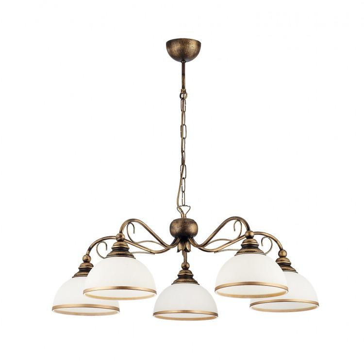 Deckenlampe Kronleuchter Klassisch XSARA XS 5 kol 1177 Metall Glas dunkelgold weiß