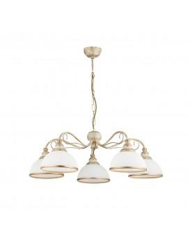 Deckenlampe Kronleuchter Klassisch XSARA XS 5 ec. 1172 Metall Glas golden weiß