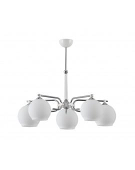 Deckenlampe Kronleuchter Modern Metall Glas Design Weiß Chrom AXEL 1399