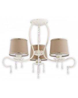 Deckenlampe Kronleuchter Metall Schirm Kristall Barsa Antik Weiß O2473 W3 AB