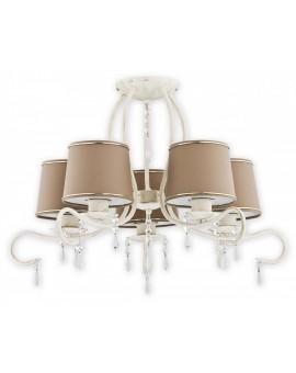Deckenlampe Kronleuchter Metall Schirm Kristall Barsa Antik Weiß O2475 W5 AB