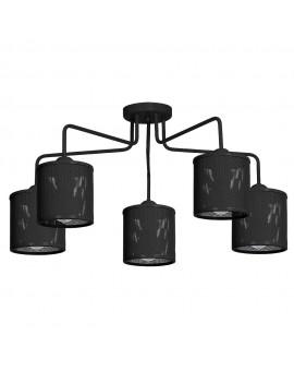 Deckenlampe Deckenleuchte Metall Käfig Modern Design Net Schwarz 5-flg. 9522