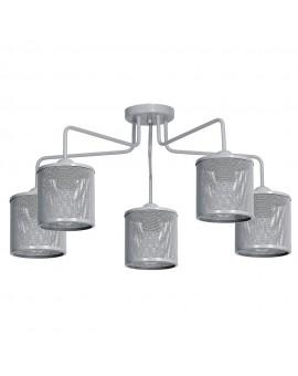 Deckenlampe Deckenleuchte Metall Käfig Modern Design Net Grau 5-flg. 9696