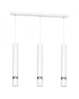 Hanging lamp Joker tube white with chrome stripe 1348