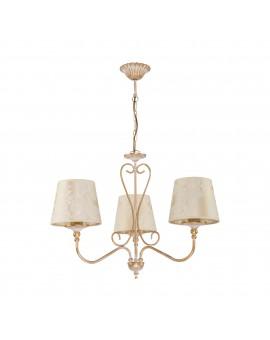 Deckenlampe Kronleuchter Lüster Schirm Golden Beige Muster SOFIA 1591