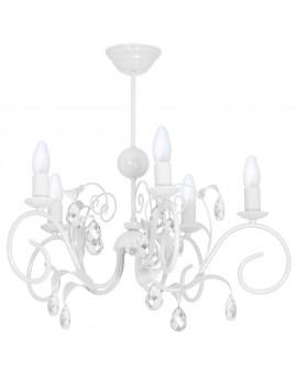 Deckenlampe Deckenleuchte Kronleuchter Modern Metall Kerze Livia Weiß 7970