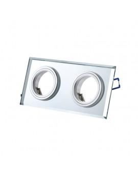 Oczko sufitowe szklane podwójne Srebrne EKOS919 Milagro